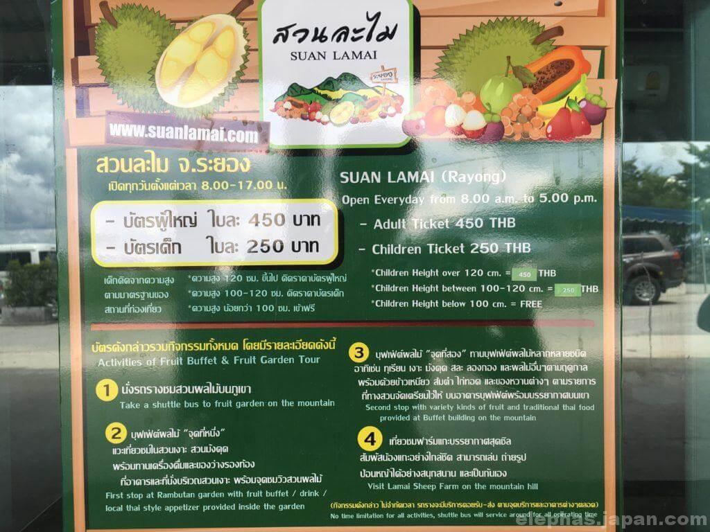スワンラマイの入場券料金表