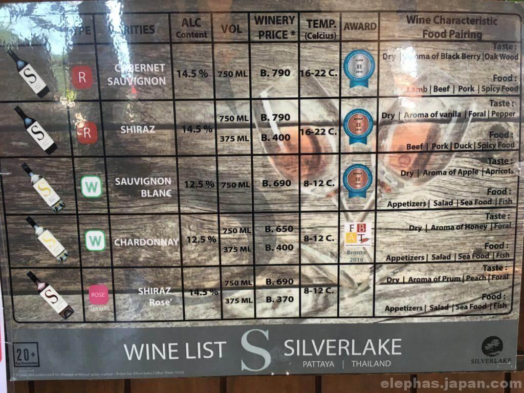 パタヤシルバーレイクのワイン価格表