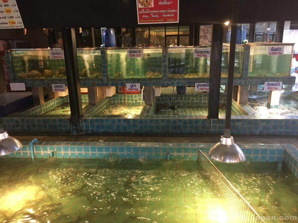 タイのシーフードレストランムンアロイの水槽2